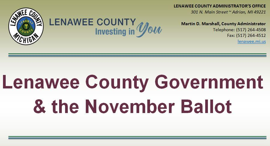 Lenawee Co Government & the November Ballot