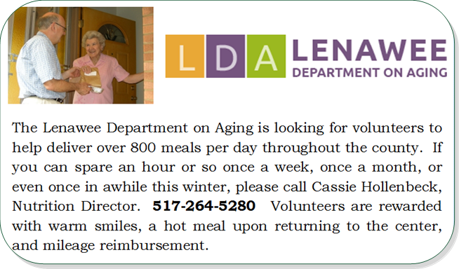 LDA Meal Delivery Volunteers needed