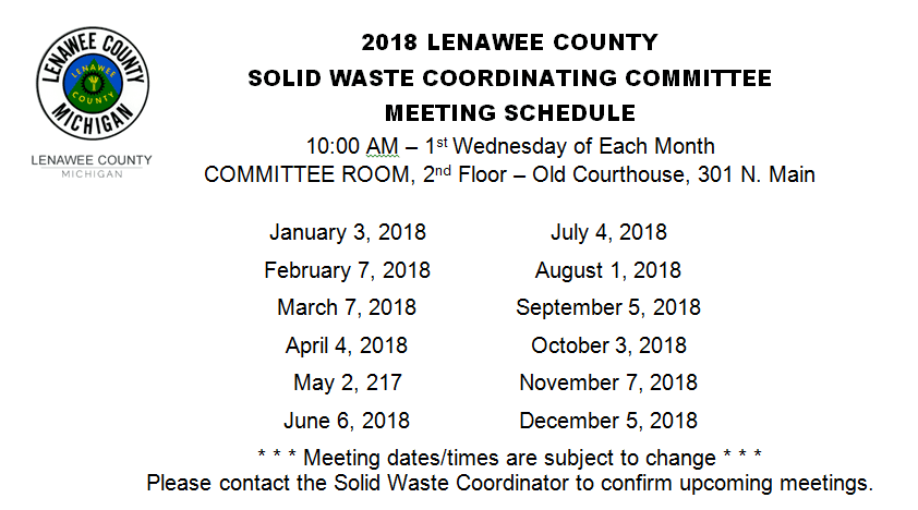 2018 LCSWCC MEETING SCHEDULE