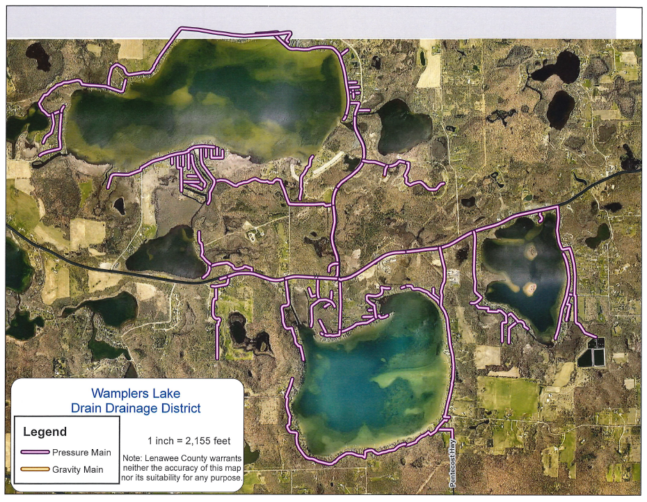 Wamplers Lake Sanitary Drain  Map