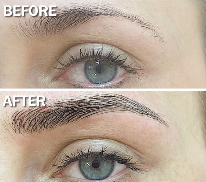Picture of eyebrows that have been microbladed