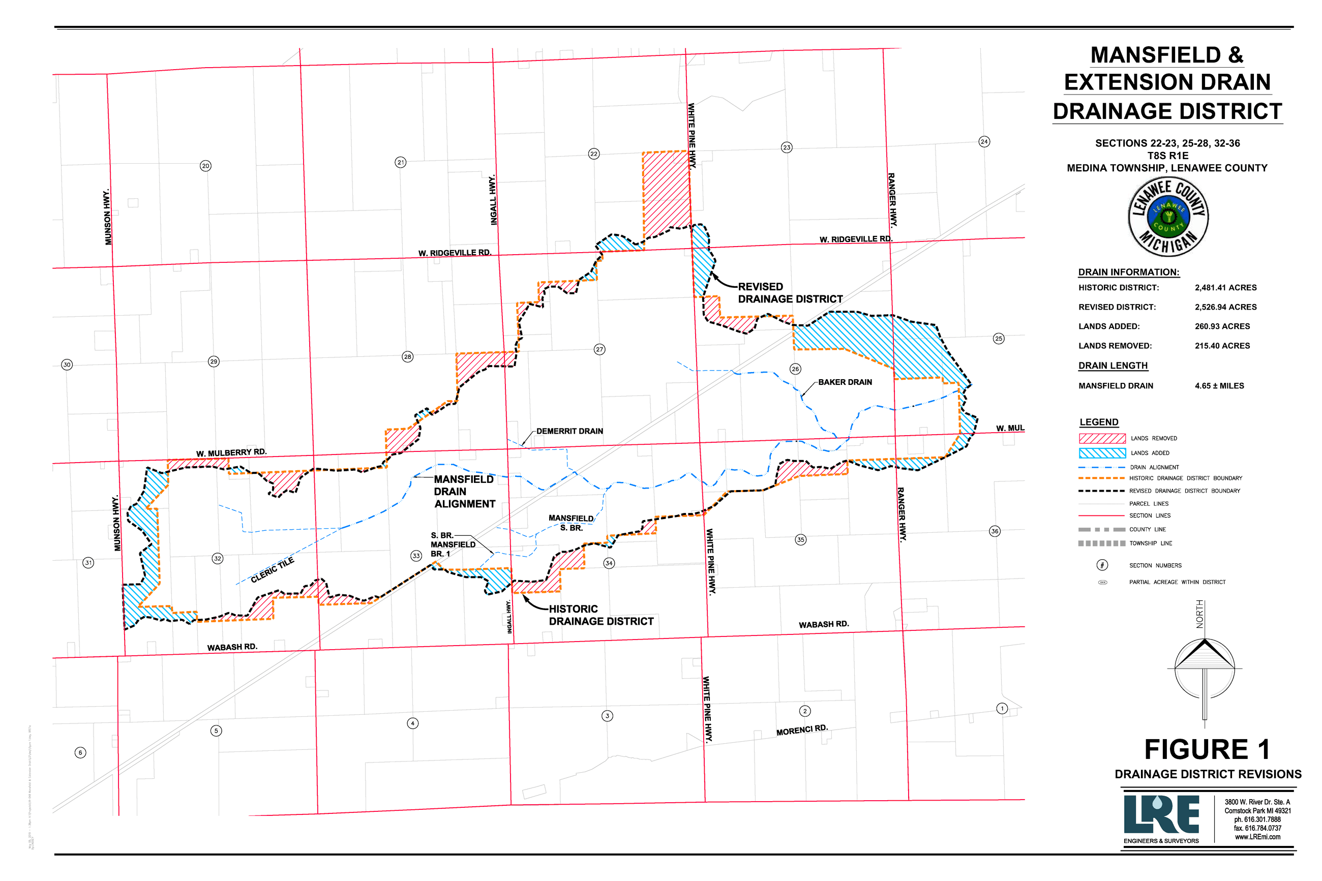 Picture of the revised district for Mansfield & Extension drain