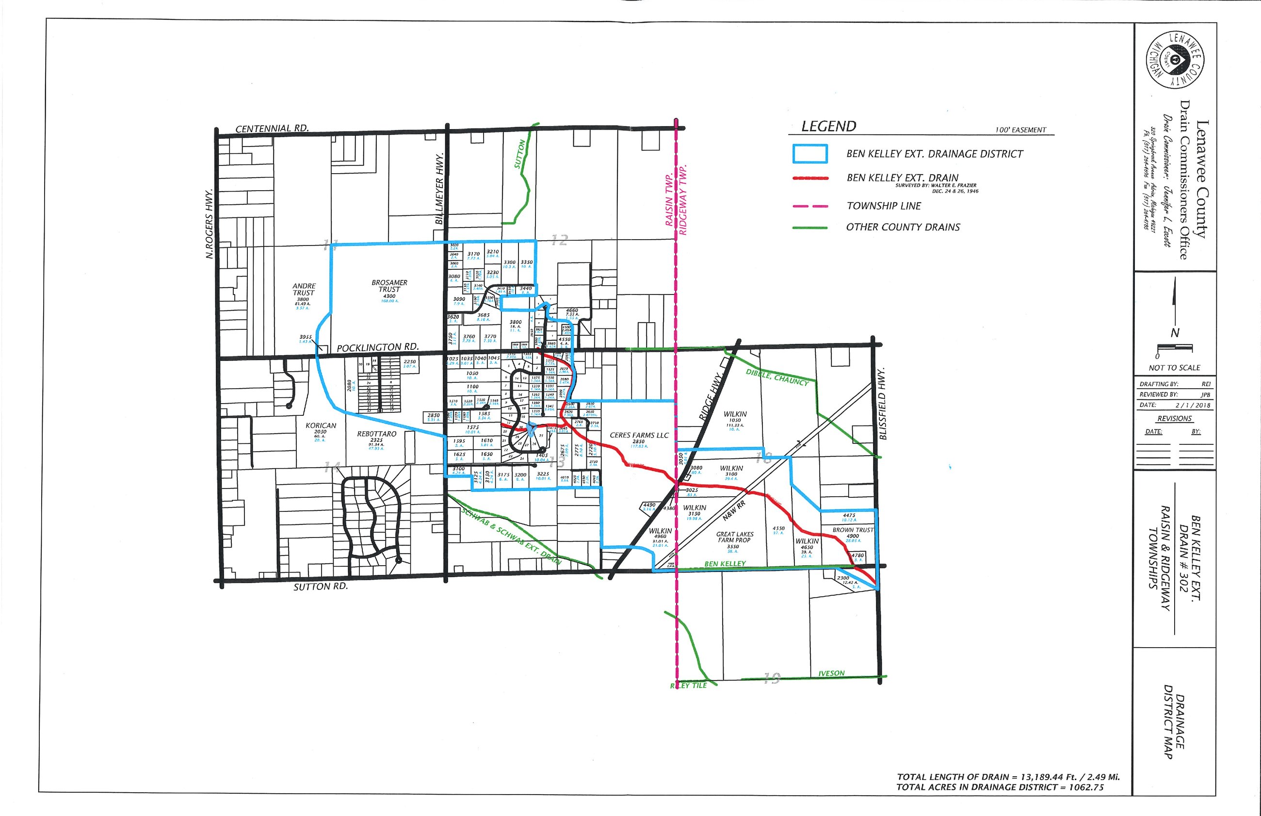 Ben Kelley Extension Drain District Map With Out Aerial