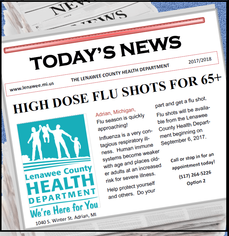 High dose flu shots available at the health department 517-264-5226
