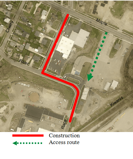 Arial Map showing temporary entrance to recycle center