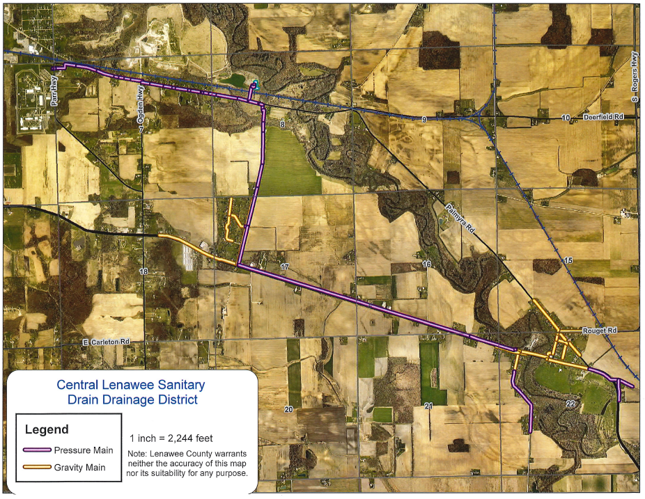 Central Lenawee Sanitary Drain Map