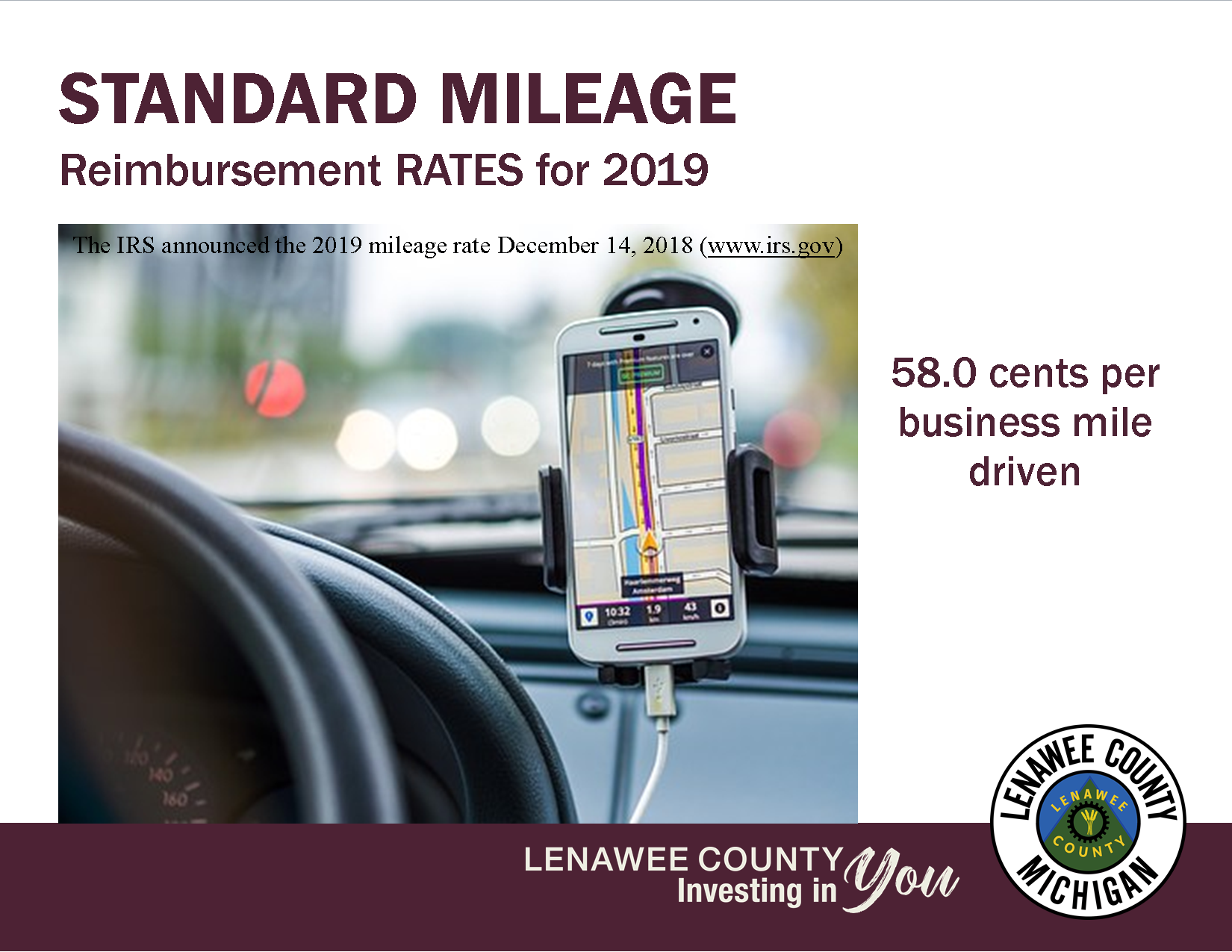 MILEAGE REIMBURSEMENT RATE 58 CENTS GPS