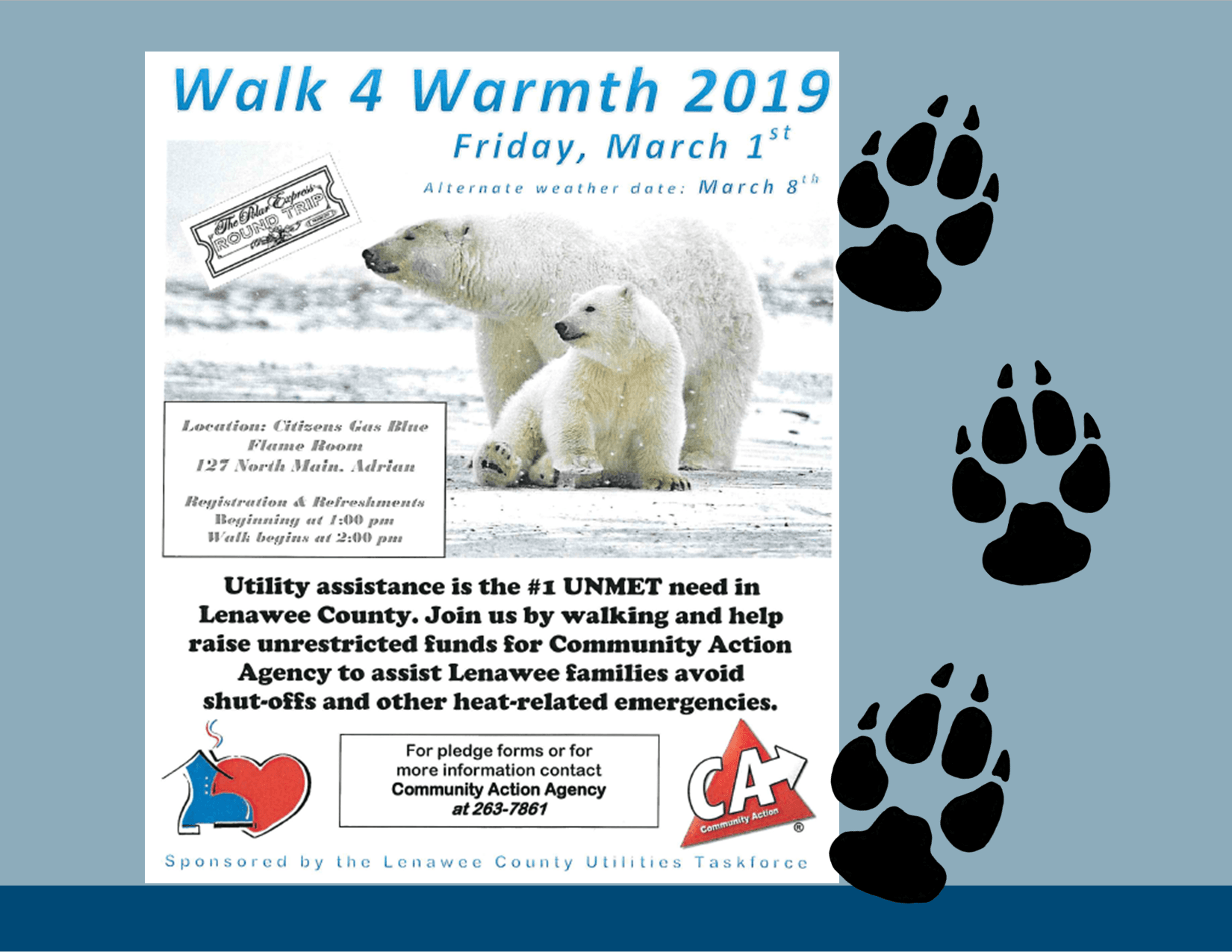 Walk for Warmth, polar bear family