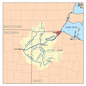 map of the Maumee River basin showing the Bean Creek watershed