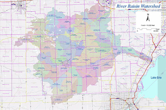 map of River Raisin watershed