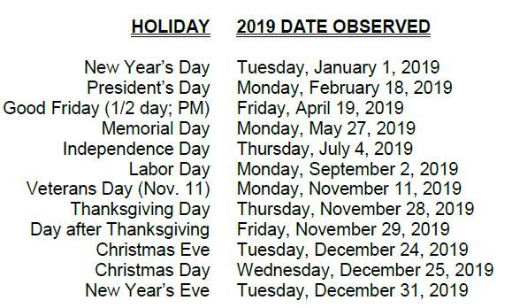 holidays observed