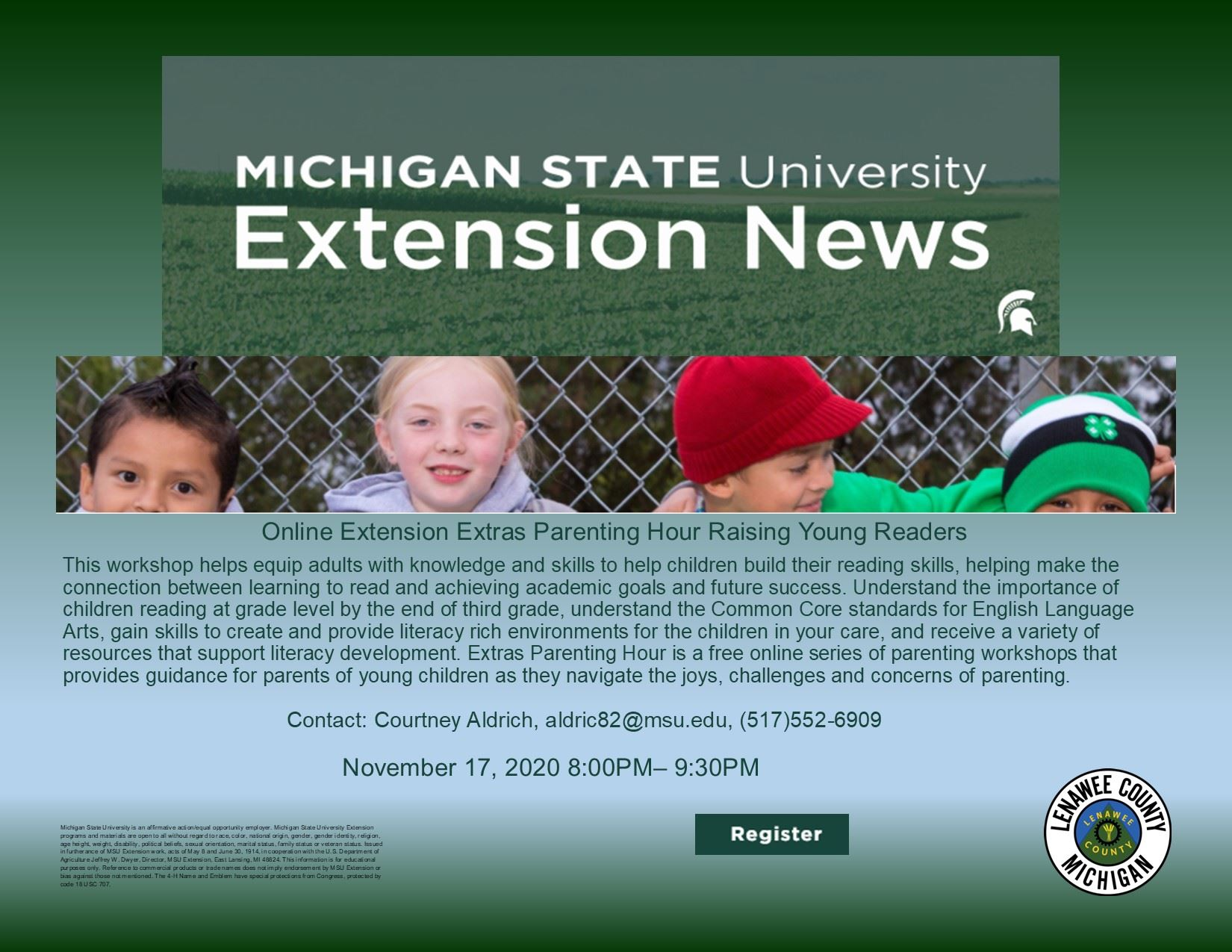 MSU  Extension Newsflash-Raising Young Readers Workshop